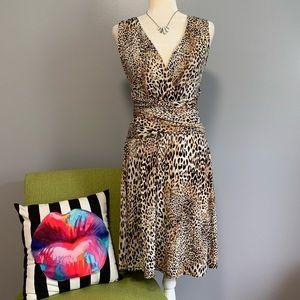 Spense Leopard Print Fit & Flare Dress B3